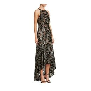 Halston Heritage Embroidered Sequin High-Low Gown